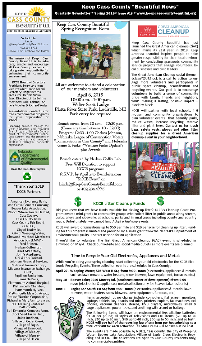 2019 Spring Newsletter pg 1